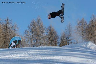 Snowscoot flip at the 2006 Olympics