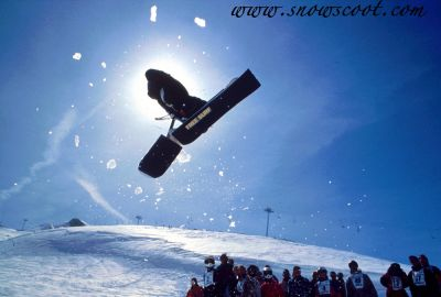 First 360 in a snowscoot event in 1995