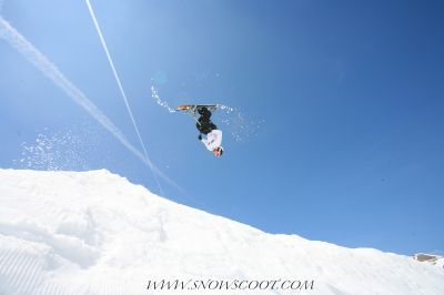 SNOWSCOOT INSANE SNOWSCOOT RIDER HERVE BONNEFOND FLIPPING OVER THE GAP OF LES CROZETS