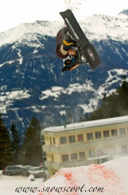 SNOWSCOOT RIDER CORENTIN FRONTFLIPPING AN XUP FOR THE TITLE IN CRANS
