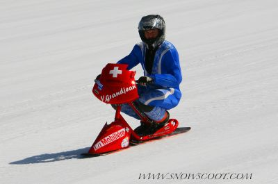 SNOWSCOOT INSANE RIDER BOUBOU ON HIS LAST PROTOTYPE MISSING HIS 2006 SPEED RECORD