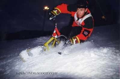 SNOWSCOOT AND MTB RIDER FABIEN BAREL TESTING THE SLOPES OF LES GETS