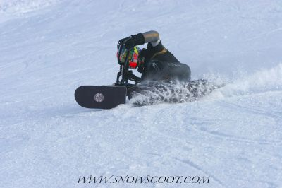 SNOWSCOOT INSANE RIDER BRUCE RULFO CARVING THE DUAL SLALOM OF NOTRE DAME DE BELLECOMBE