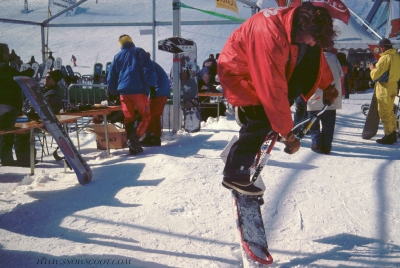 SNOWSCOOT RIDER GERALD JACQUEMET ON HIS FIRST VERTICAL BOOMERANG