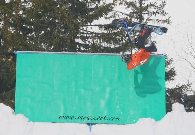 SNOWSCOOT RIDER TAZ WALLFLIPPING IN LES CROZETS