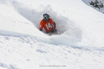 SNOWSCOOT RIDER TAZ POWERTURN IN HEAVY SNOW