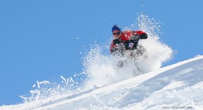Snowscoot powder riding
