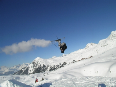 Clément double backflip backcountry leitchoums la plagne