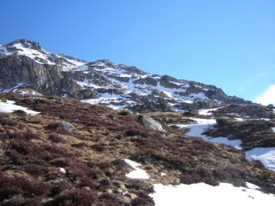 Passage pris du sommet au chemin versant sud